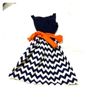 Handmade dress orange and blue chevron